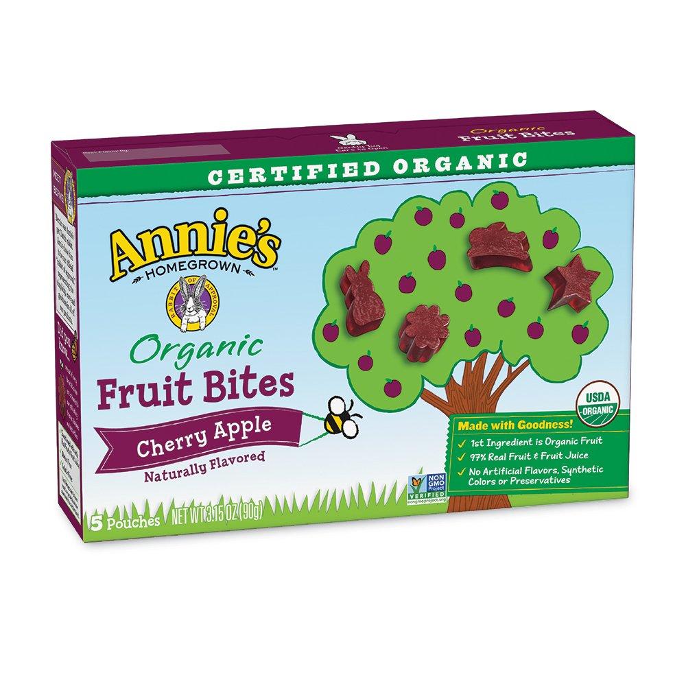 Annie's Organic Fruit Bites, Cherry Apple, 5 Pouches, 0.6 oz Each (Pack of 10)