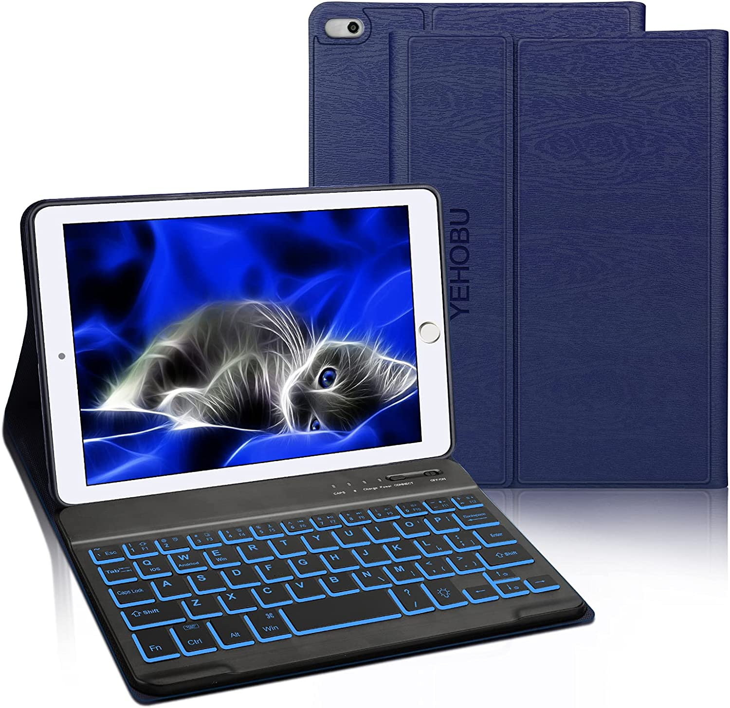 Wireless Keyboard Case for iPad Mini 5 (5th Gen 2019), Soft Rubber PU Case with 7 Colors Backlit Bluetooth Keyboard fit for 7.9 Inch iPad Mini 5 Mini 4/3/2/1 -Dark Blue