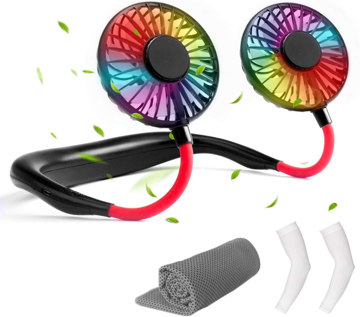 Gvoo Ventilador Portátil, Ventilador USB Recargable 3 velocidades,Rotación Libre de 360° LED Luz,Incluye Mangas de Brazo y Toalla de Microfibra