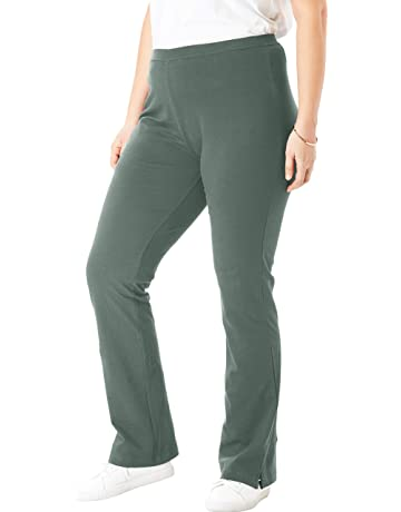 685791a442592d Woman Within Women's Plus Size Petite Stretch Cotton Bootcut Yoga Pant