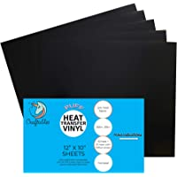 Craftables Black Puff Iron on Vinyl 5 Sheets | Expanding 3D Heat Transfer Vinyl for Fabrics