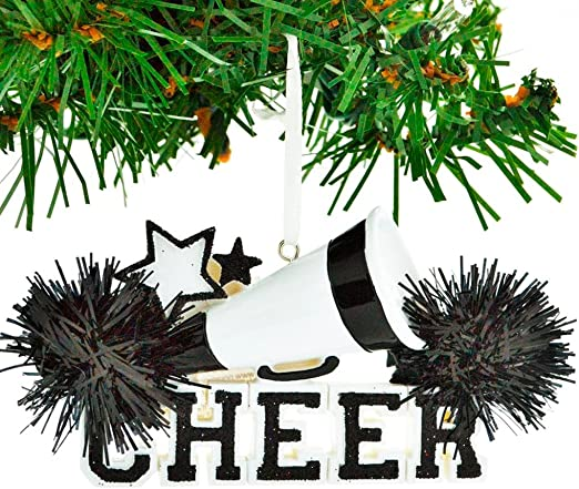 "KURT ADLER 4.5/"" HAND PAINTED RESIN GREEN CHEERLEADER /""CHEER/"" CHRISTMAS ORNAMENT"