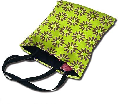 PengMin Green Daisy Flowers Fashion Womens Multi-Pocket Vintage Canvas Handbags Miniature Shoulder Bags Totes Purses Shopping Bags