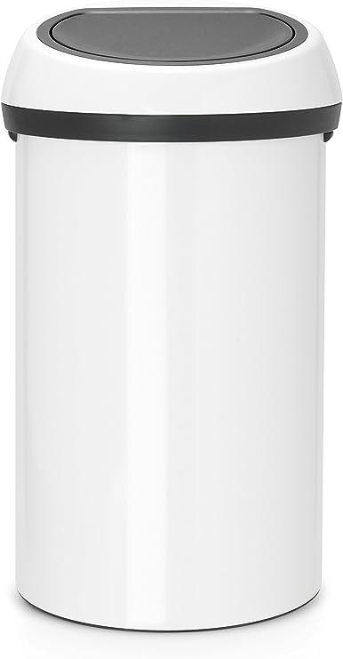 Brabantia Abfalleimer Touch Bin 60 L mit Deckel in weißgrau, Plastik, 58 x 28 x 28 cm