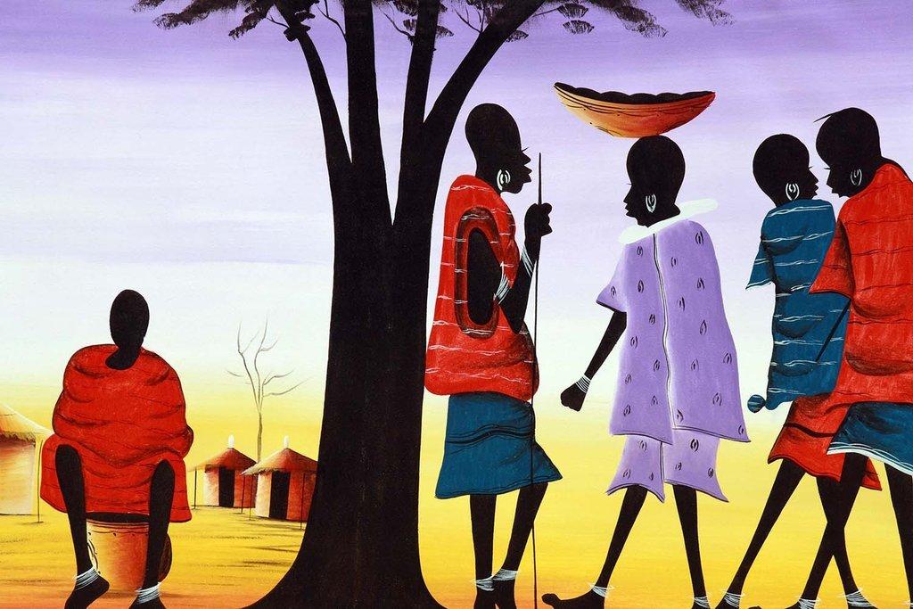 アフリカ文化ペイントプリントonビニールUnframedビニールアート印刷 – Perfect for室内/室外。全天候型。 36X48 VINYL04173648 B076DL26HF  36X48