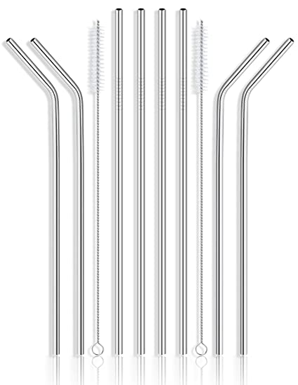 Yihong Set Of 8 Stainless Steel Metal Straws Ultra Long 10.5 Inch Reusable Straw Other Bar Tools & Accessories Bar Tools & Accessories