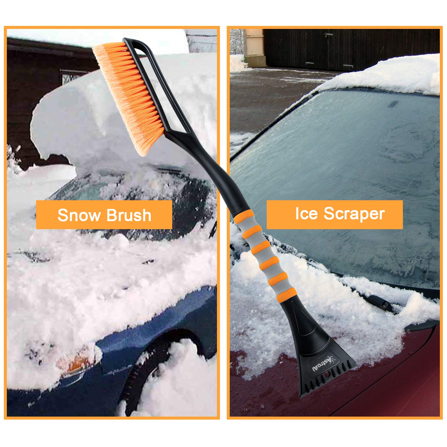 "Heavy Duty ABS, PVC Brush AstroAI 2 Pack 27/"" Snow Brush and Detachable Deluxe Ice Scraper with Ergonomic Foam Grip for Cars"