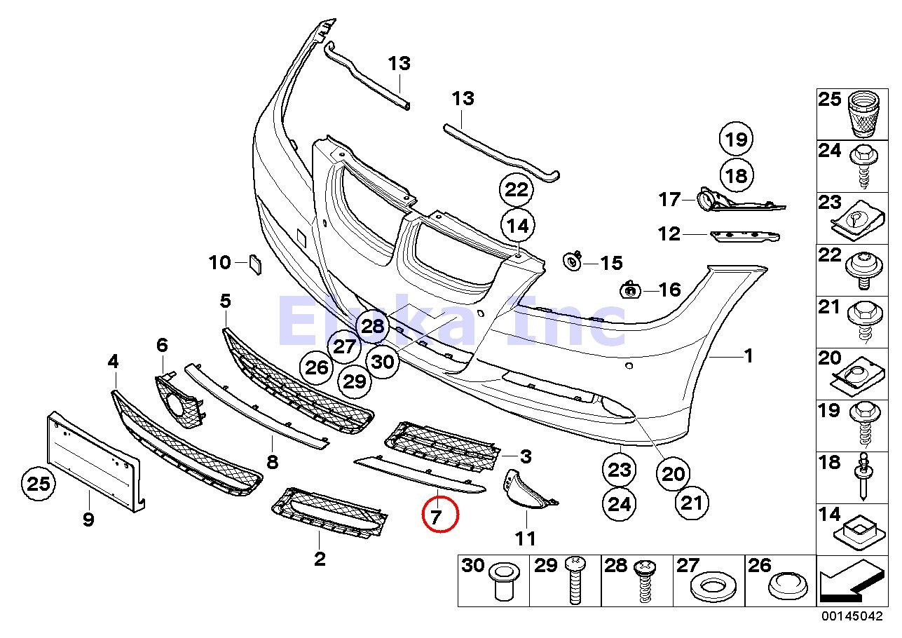 BMW Genuine Body Trim Bumper Cover Trim (Finisher Rod) Front Left  325i 325xi 328i 328xi 325xi 328i 328xi