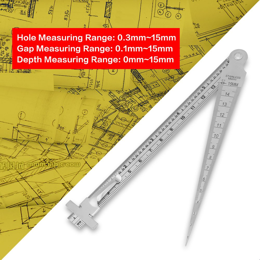 Feeler Gauge Stainless Steel Welding Taper Gap Gauge Depth Ruler Hole Inspection Tool,Two Measurement Systems of Mm and Inch
