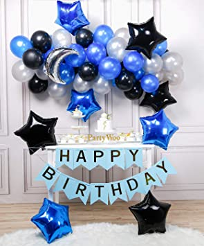 PartyWoo Blue Black Silver Balloons, 55 pcs Silver Moon Balloon, Mylar Star Balloons, Blue Happy Birthday Balloons, Royal Blue and Silver Balloons, ...