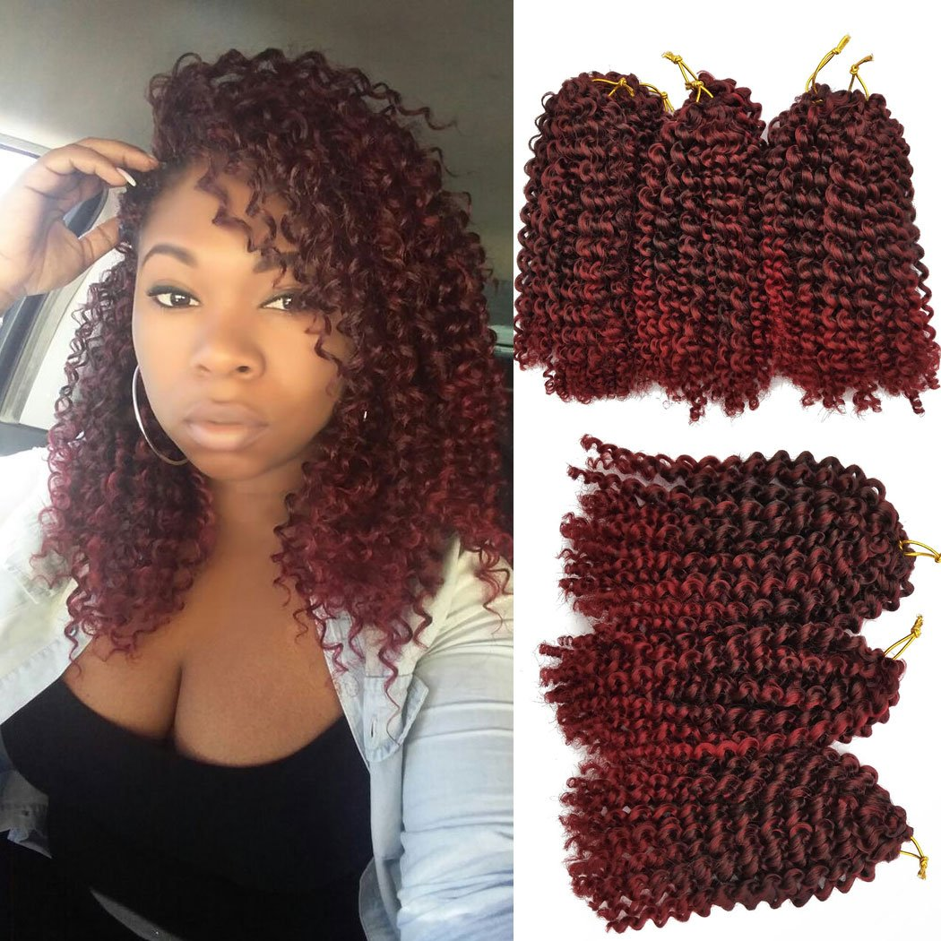 Amazon 6 Piece Flyteng 8 Inch Marlybob Kinky Curl Crochet Hair