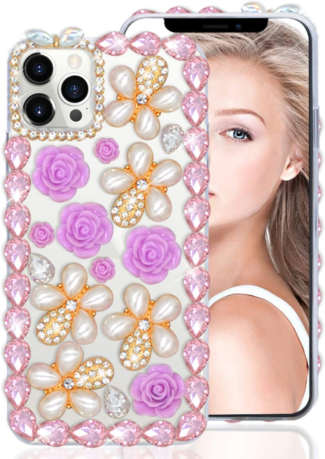 LUVI Compatible with iPhone 12 Pro Max Rhinestone Diamond Case Cute Bling Glitter 3D Flower Pearl Crystal Sparkle for Girls Women Protective Cover Shiny Clear Transparent Luxury Fashion Case 6.7 inch