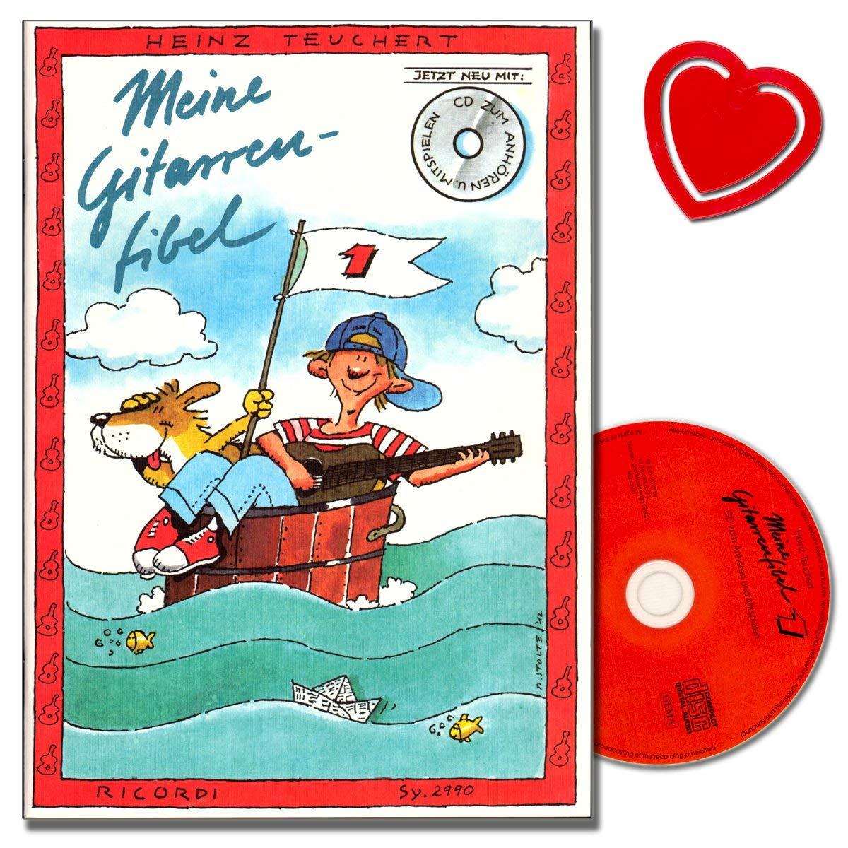 Meine Gitarrenfibel Band 1 Mit CD Von Heinz Teuchert  Gitarren Schule    Neues Erweitertes Lehrerheft Mit Hinweisen Und Begleitstimmen   Mit Bunter Herzförmiger Notenklammer