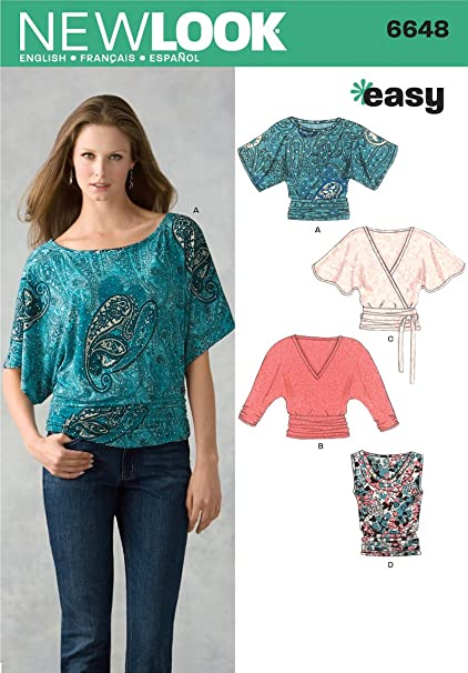 Amazon New Look Sewing Pattern 6648 Misses Knit Tops Size A 6