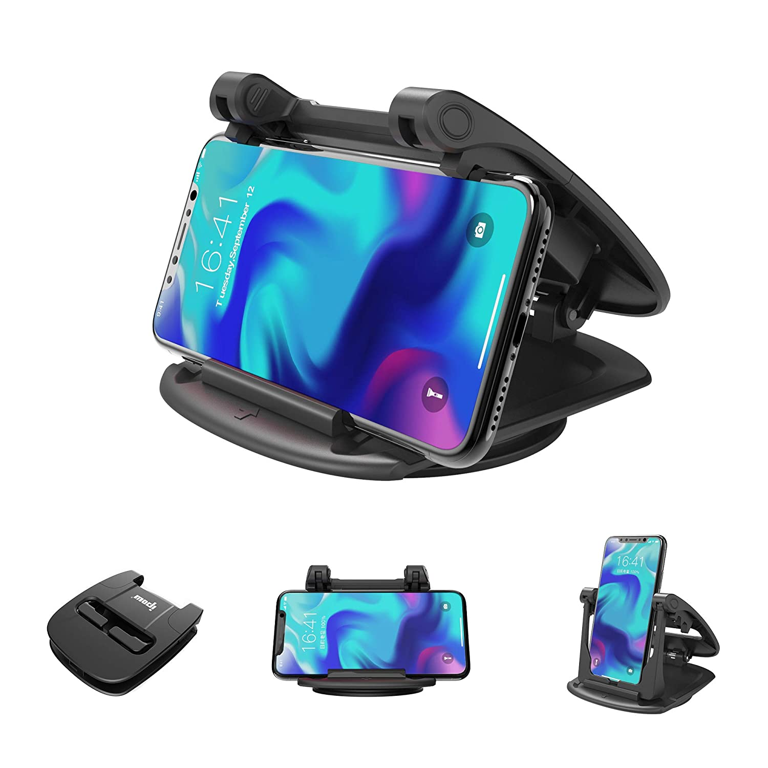 IPOW 360 Degree Rotatable Car Dashboard Phone Mount Hold Phones Vertically//Horizontally,Car Cell Phone Holder Compatible with GPS,iPhone 7 6 6s X XR XS Max 8 Plus Samsung S9 S8 S7 S6 Note 8 Google IP1-201710160