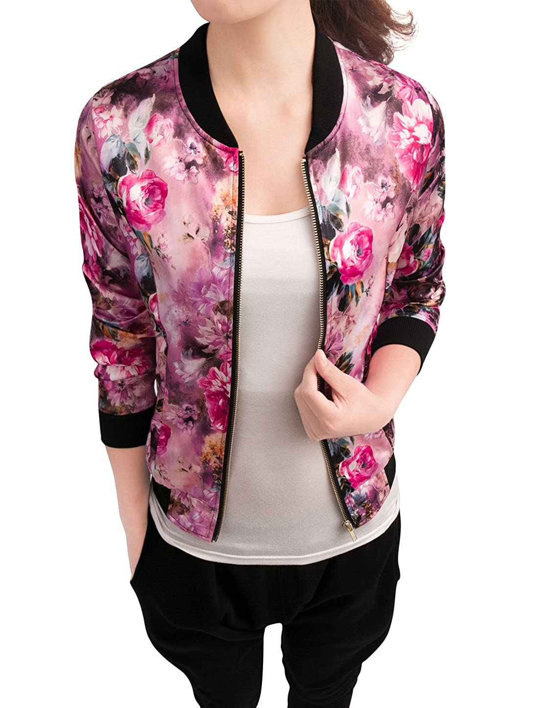 faf468743 Allegra K Women's Stand Collar Zip Up Floral Prints Bomber Jacket
