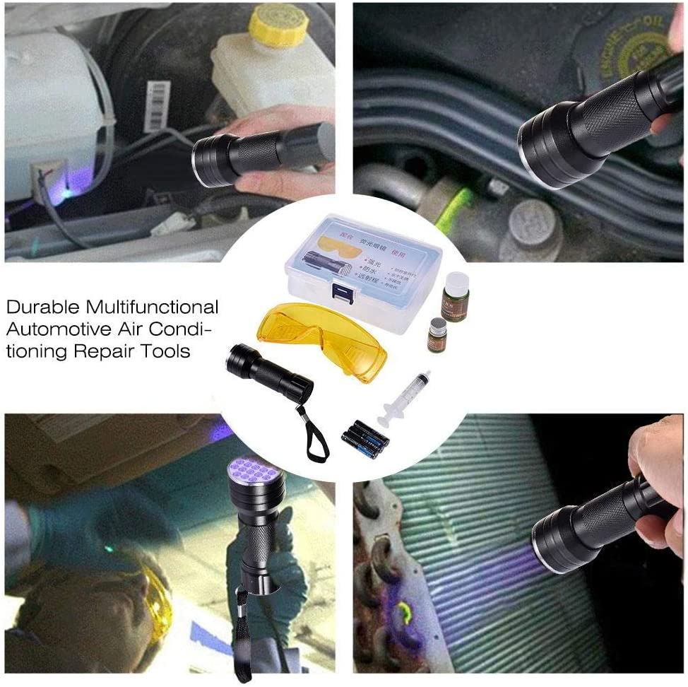 Car Air Conditioning Repair Tool Car Leak Detector Set Durable Multifunctional Car Air Conditioning A//C System Leak Test Detector Kit LED UV Flashlight Protective Glasses Tool Set