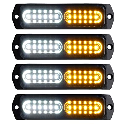 ASPL 4pcs Sync Feature 12-LED Surface Mount Flashing Strobe Lights for Truck Car Vehicle LED Mini Grille Light Head Emergency Beacon Hazard Warning lights (Amber/White): Automotive