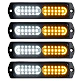 ASPL 4pcs Sync Feature 12-LED Surface Mount Flashing Strobe Lights for Truck Car Vehicle LED Mini Grille Light Head Emergency Beacon Hazard Warning lights (Amber/White) (Color: Amber/White)