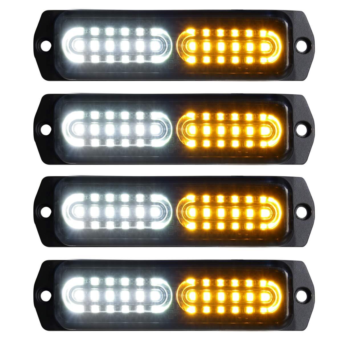 Amber//White 4pcs Ultra Slim 12-LED Surface Mount Grille Flashing Strobe Lights for Truck Car Vehicle Mini LED Light-Head Emergency Beacon Hazard Warning lights 12-24V