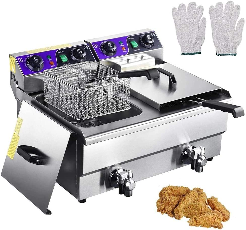 3000W Commercial Deep Fryer -23.4L Electric Dual Tank Deep Fryer with Stainless Steel Countertop - Capacity Double Electric Fryer with Basket and Temperature Control Restaurant French Fry