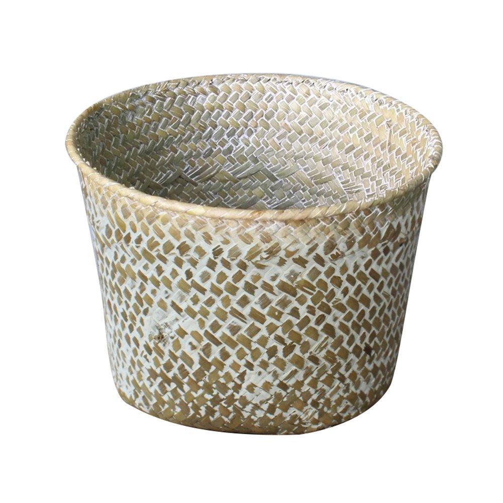 Rattan Storage Baskets, SHZONS Natural Seagrass Basket, Storage Laundry Basket Tote Belly Basket Planter Hamper Toy Organizer