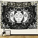 Arfbear Sun and Moon Tapestry, Burning Sun with Stars Psychedelic Popular Mystic Wall Hanging Tapestry Black and White Beach