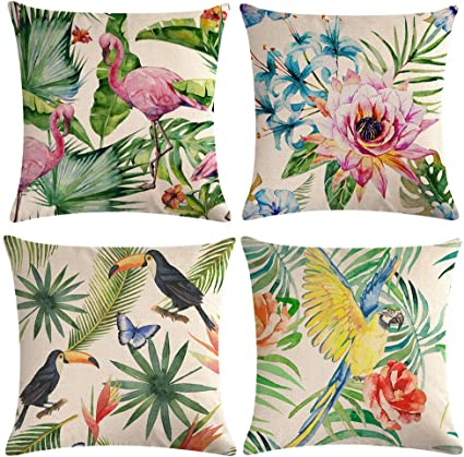 """Colorful Flower Parrot Pattern Cushion Cover 18/""""x18/"""" Decoration Home Pillow Case"""
