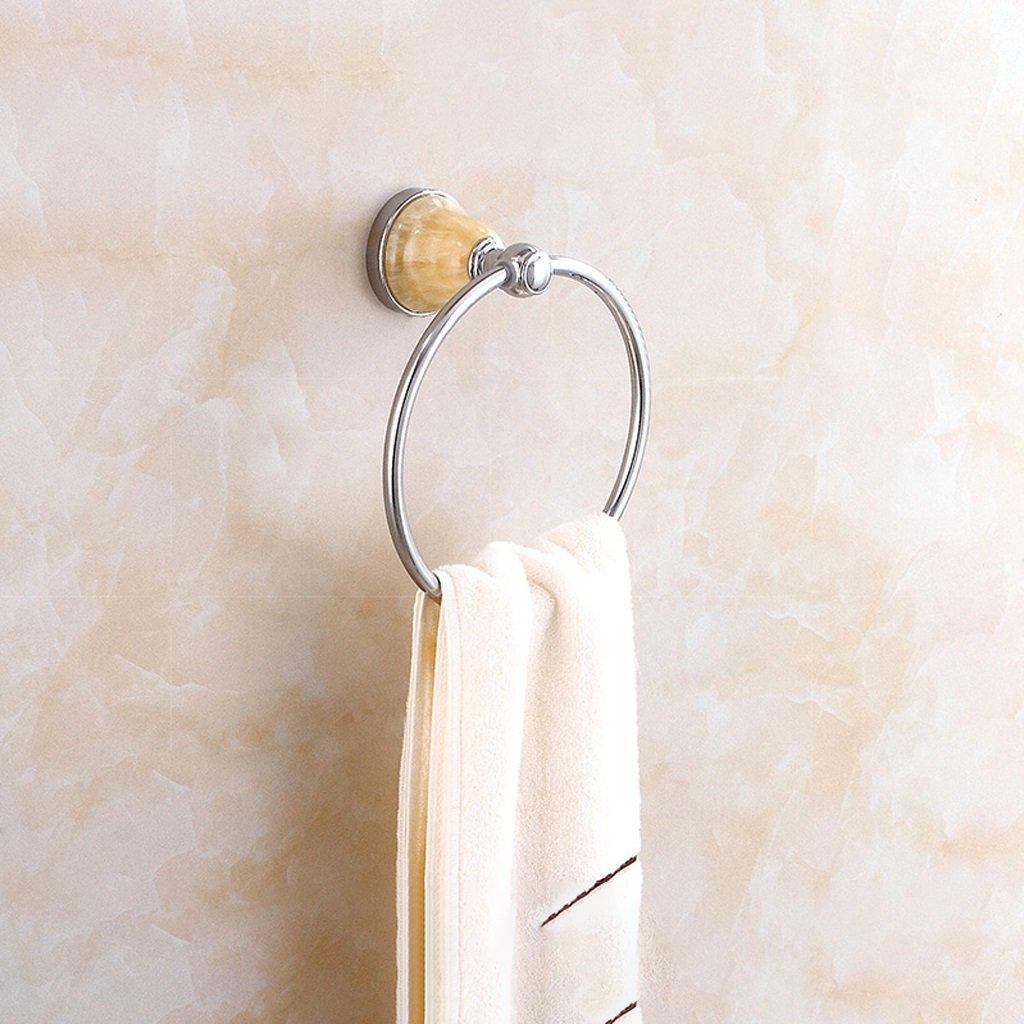 タオルリング レトロバスルーム玉石の真鍮タオルリングバスルームのハードウェアアクセサリー壁掛け式 ( 色 : シルバー しるば゜ ) B07BW9WH59 シルバー しるば゜ シルバー しるば゜