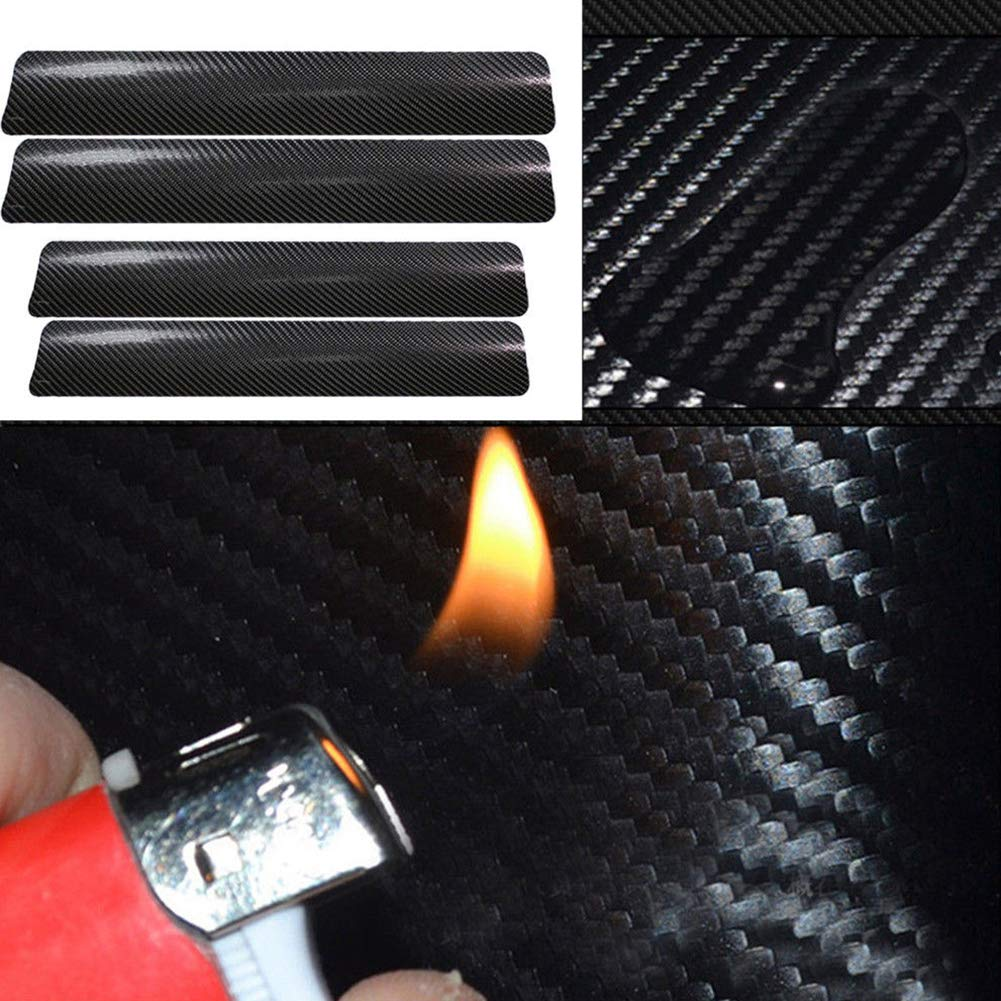 scatkinPYwl Door Sill Protector 4Pcs//Set 3D Carbon Fiber Car Door Guard Bumper Protection Trim Cover Scuff Plate Sticker with Strong Adhesive for Universal Car Black
