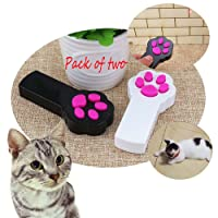 ANG 2 Pack Paw Style Red Pot Exercise Chaser for cat and dog, LED Light Interactive Toy Pet Scratching Training Tool