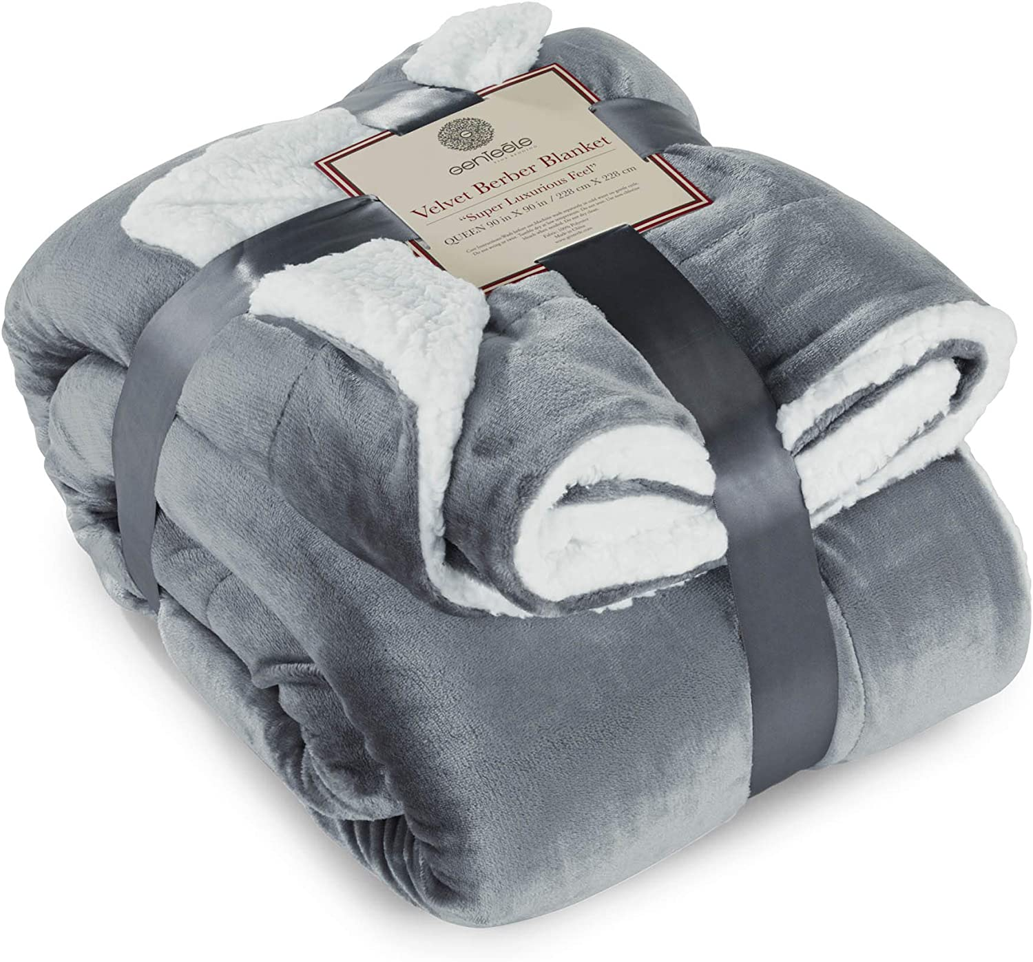 Genteele Sherpa Throw Blanket Super Soft Reversible Ultra Luxurious Plush Blanket (90 inches x 90 inches, Gray/White)