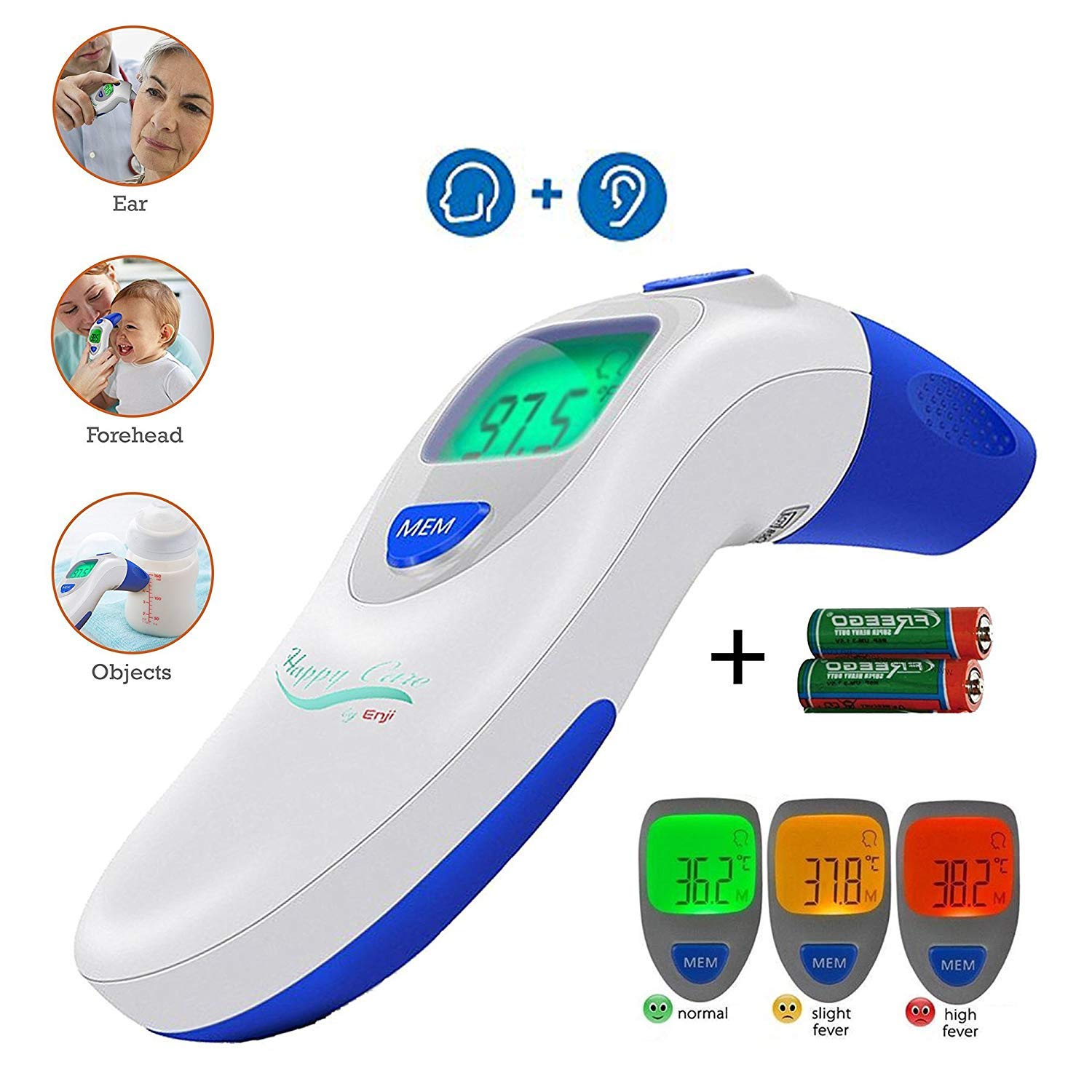 Ear and Forehead Digital Thermometer - Temporal Electronic Infrared, Dual F & C Temperature Mode, Fast 1 Second Read, for Fever, Baby, Children's, Kids & Adults, Ear Termometro