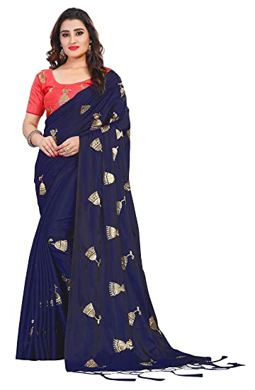 85d9b8d56c1fc3 Vaidehi Fashion Paper Silk Embroidered Saree with blouse piece(Golden-Bell-Blue)   Amazon.in  Clothing   Accessories