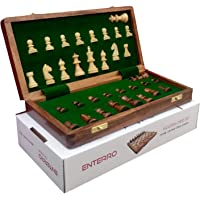 ENTERRO Chess Board Wooden Set 10 x 10 inch with 2 Extra Queens Magnetic Coins Handcrafted Foldable Travel Friendly for…