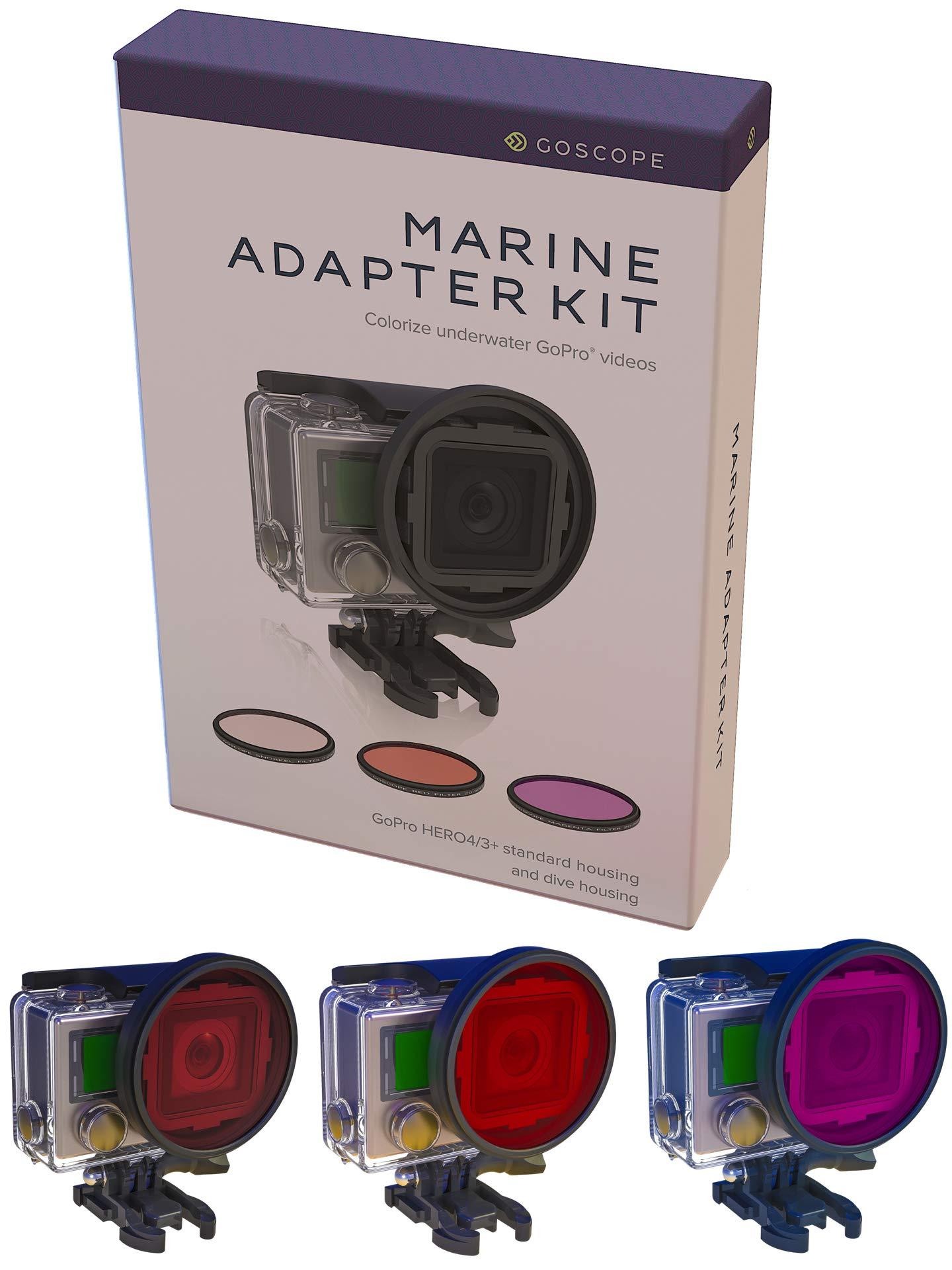GoScope HERO3 / HERO3+ / HERO4 RED Filter GOPRO Dive/Snorkel Filter - Laser Cut Contrast Enhancement Glass - Includes RED, Magenta, Snorkel Glass Lens [FITS 60M OR 40M GOPRO Dive HOUSING]
