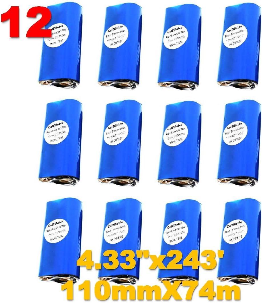 "DEFMATE 12 Count 4.33"" x 243' (110mmx74m) Thermal Wax Ribbons 1/2"" Core Thermal Transfer Wax Ribbon for Zebra,TEC,DATAMAX,INTERMEC,Avery,Citizen,SATO,TSC,GODEX,ARGOX"
