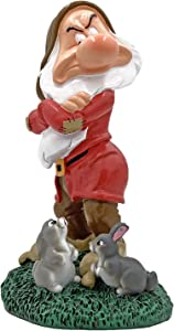 Grumpy Garden Statue with Bunnies, Hand Painted, Stands 8 inches Tall and 4 inches Wide, Official Disney Licensed. Grumpy is one of The Seven Dwarfs from Snow White.