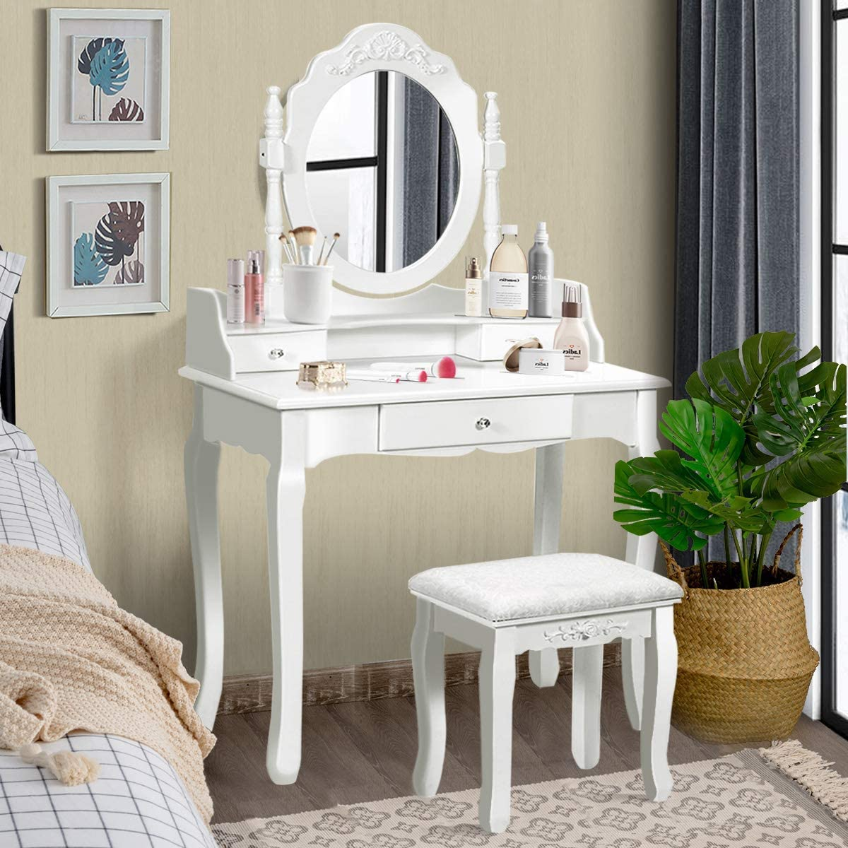 Giantex Vanity Table Set with Mirror and Stool for Bedroom Modern Wood Style Cushioned Bench Oval Mirrored Multifunctional Top Removable Writing Desk Dressing Tables for Girls, 3 Drawers White