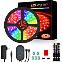 Segrass Led Strip Lights 16.4ft,RGB Led Lights Music Sync,Color Changing with 16 Colors 6 Modes,LED Light Strips Kit…