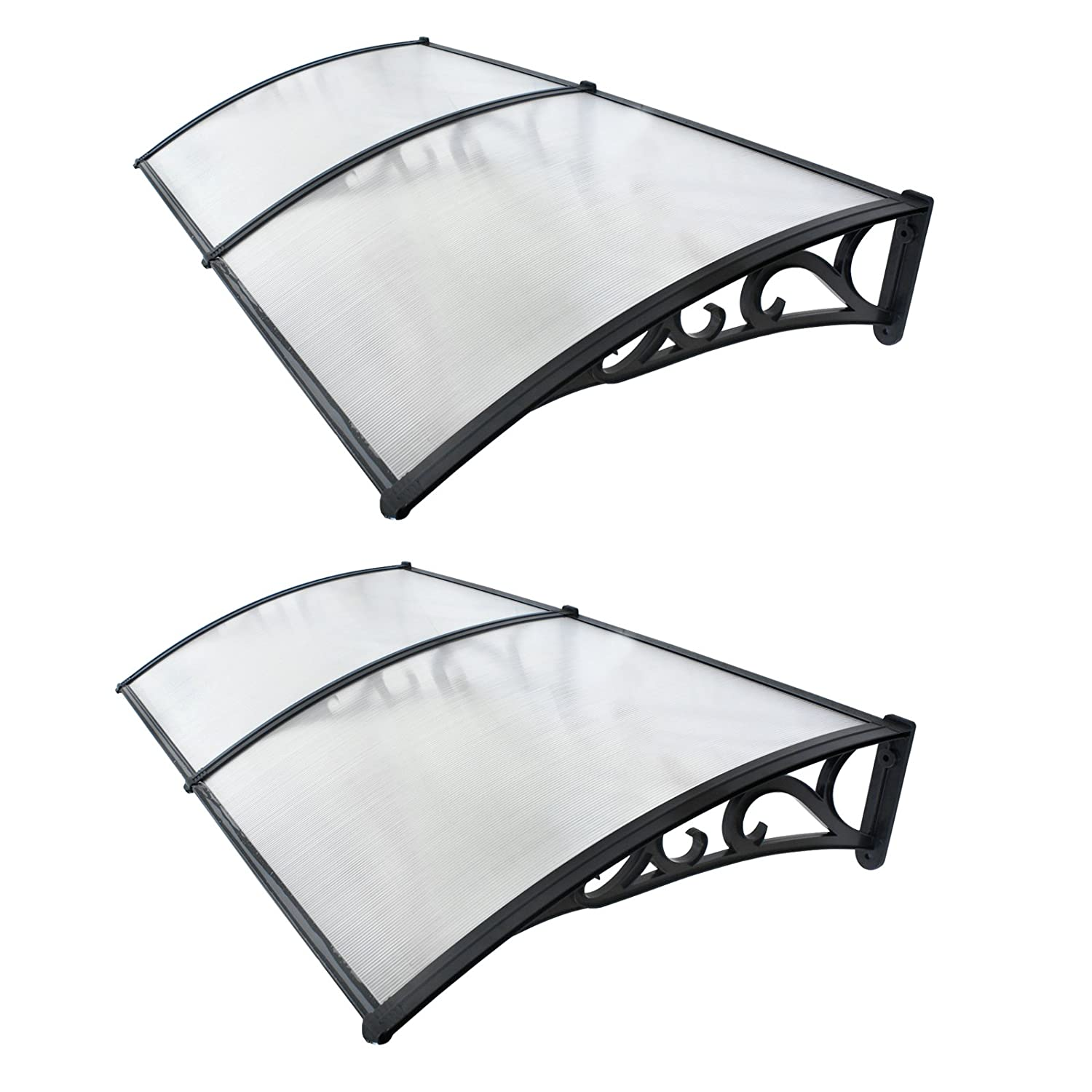 Smartxchoices 40 x80 Polycarbonate Windows Doors Awning Cover Sun Shade Shelter Rain Snow Cover Overhead Canopy 2PCS