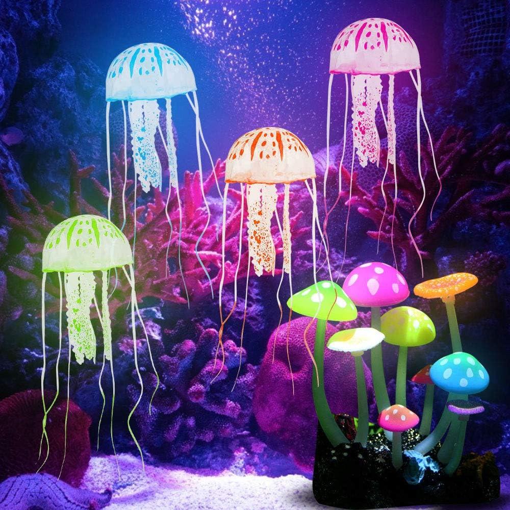 KBNIAN - 4 meduse decorative incandescenti + 1 fungo artificiale in silicone per acquario, piante galleggianti e funghi luminosi, per acquario