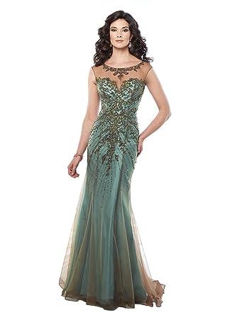 8bb6490126 Amazon.com  Mon Cheri Montage For Women s Cap Sleeve Lave and Tulle Over  Taffeta Trumpet Gown 10 Bronze Aqua  Clothing