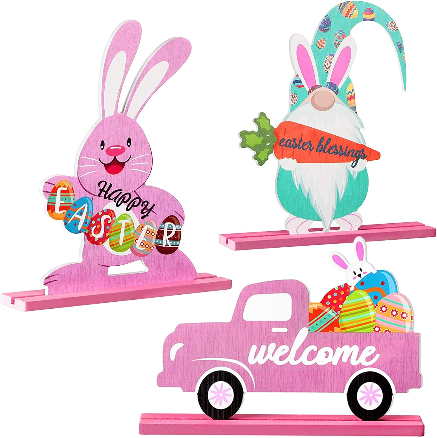 Jetec 3 Pieces Happy Easter Table Decoration Signs Bunny Table Centerpiece Easter Gnome Tabletop Decoration Easter Truck Wood Decor for Easter Home Office Party Decorations