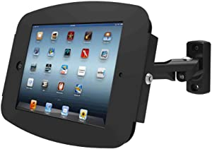 iPad Wall Mount - Maclocks Lockable Space Enclosure with Swing Arm for iPad 2/3/4, iPad Air, iPad Air 2. Color: Black, (827B224SENB)