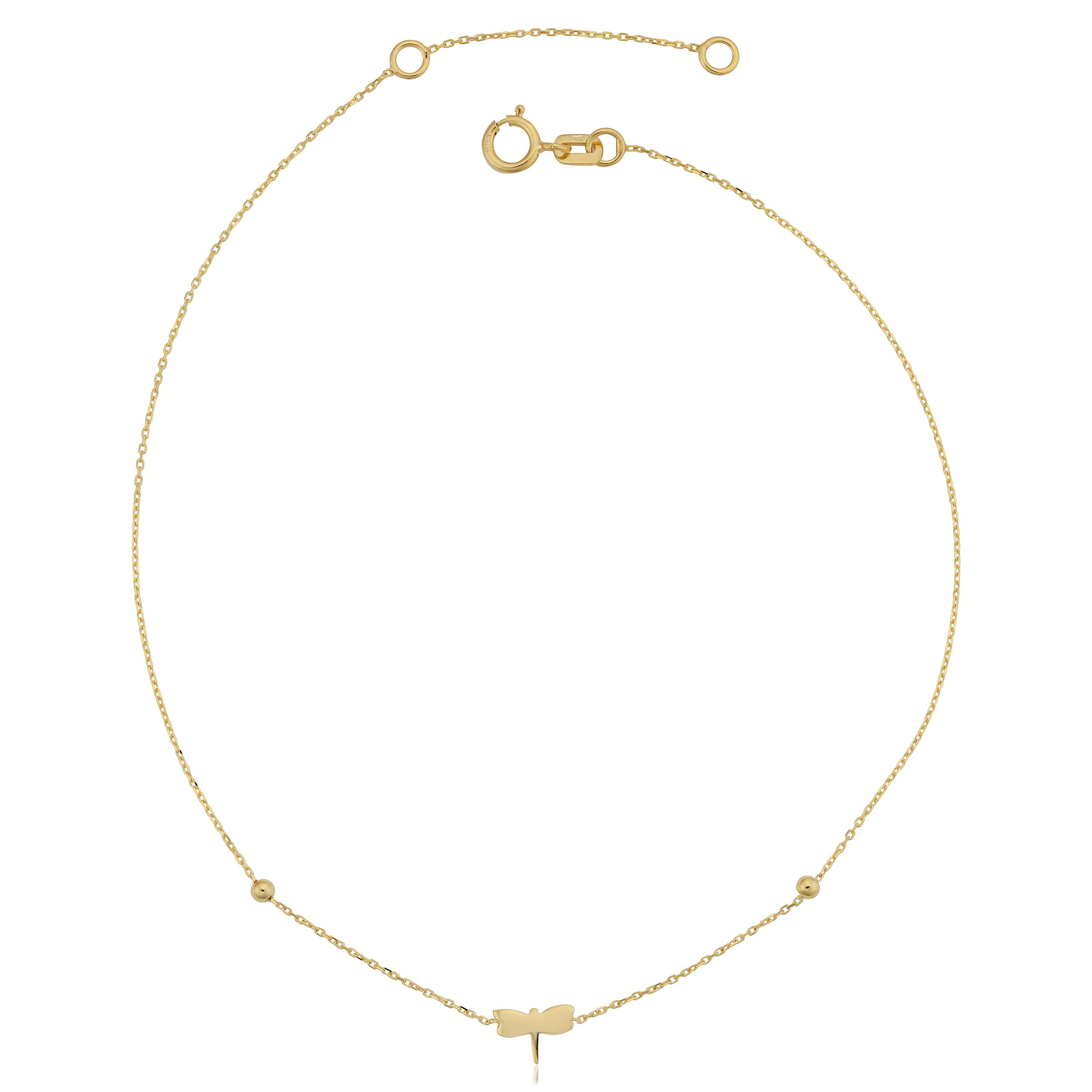 14k Yellow Gold Dragonfly Adjustable Length Anklet (fits 9'' or 10'')