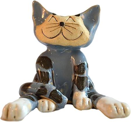 Adorno de cerámica para gato sonriente, diseño de gato de rayas, hecho a mano, ideal como regalo para un amante de los gatos: Amazon.es: Hogar