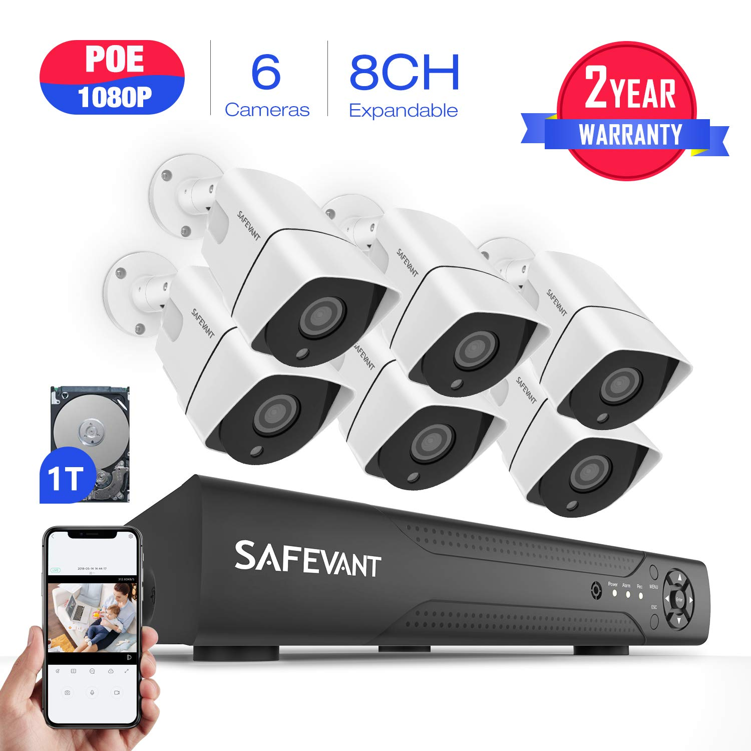 2019 New Security Camera System 1080P,SAFEVANT 1080P PoE Home Security Camera System with 6 x Bullet Wired Outdoor 1080P PoE IP Cameras,8 Channel PoE NVR System w 1TB Hard Drive for 7 24 Recording