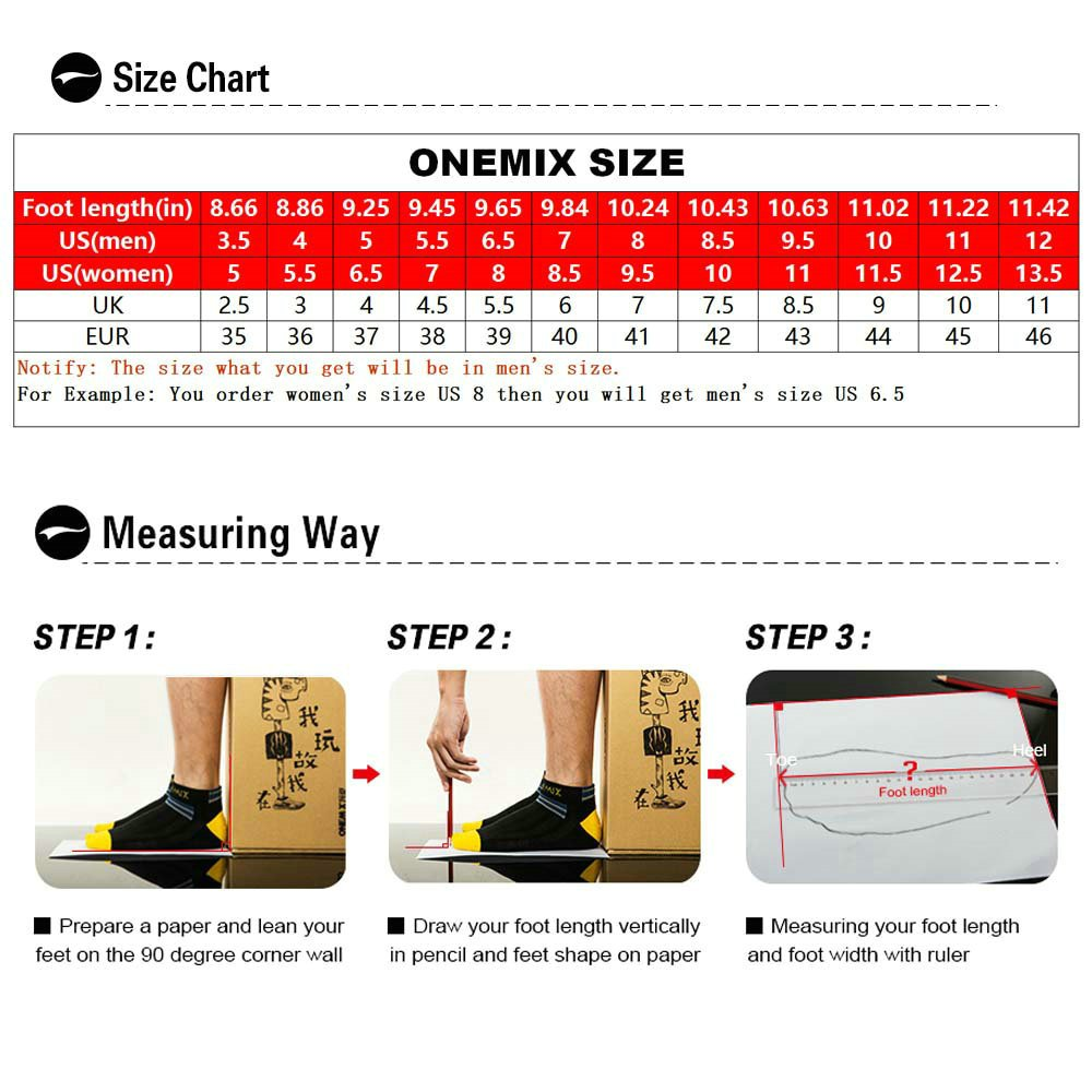 ONEMIX Air Cushion Sports Running Shoes for Men and Women New Wave Casual Walking Sneakers Black US 9.5 by ONEMIX (Image #6)