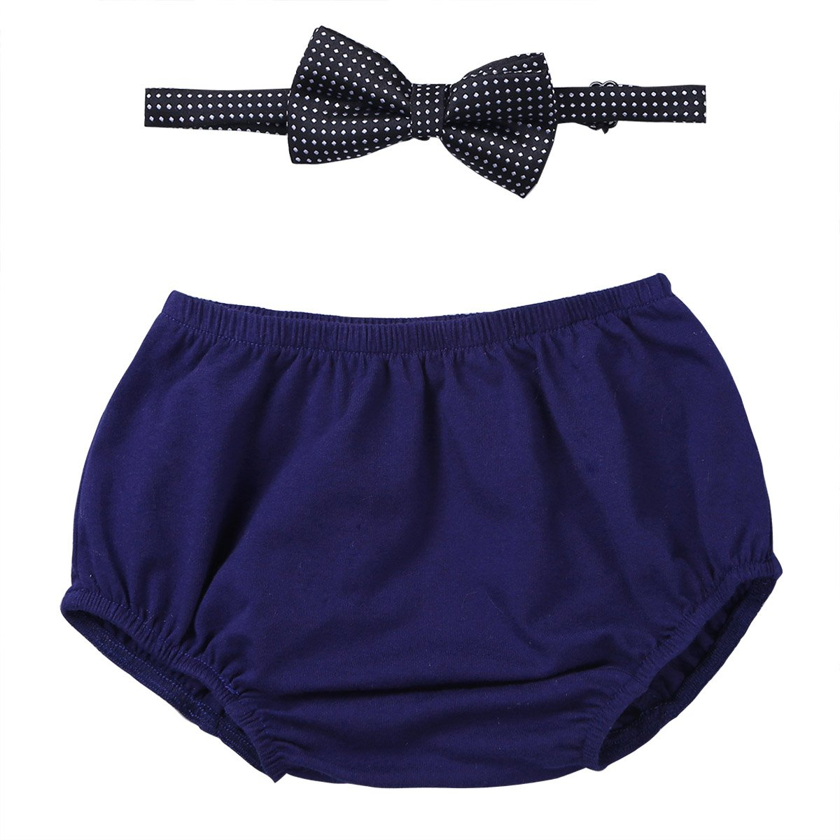 CHICTRY Baby Toddlers Boy Gentleman Formal Bowtie and Bloomer Shorts 1st Cake Smash Set